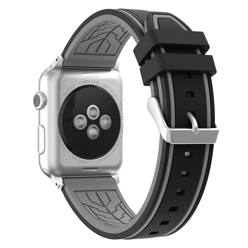 Силіконовий ремінець Primo Color Strip для Apple Watch 42mm / 44mm Black-Grey