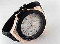 Мужские часы HUBLOT - резиновый черный ремешок, цвет корпуса gold, кварцевый механизм