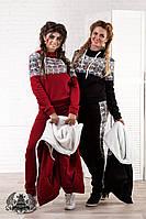 """Зимний женский костюм тройка: свитер и штаны на флисе, жилетка на махре """"НОРМА"""" и """"БАТАЛ"""", бордовый"""