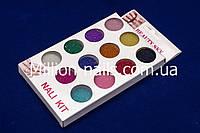 Набор полупрозрачного цветного бисера (бульонки) для дизайна ногтей, 12 шт