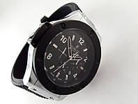 Мужские часы HUBLOT - резиновый черный ремешок, цвет корпуса silver, кварцевый механизм