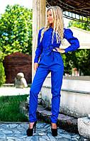 Костюм. Ткань: блузка - стрейч-котон, брюки - джинс. На блузке застёжки пуговицы.3 цвета апро№2097