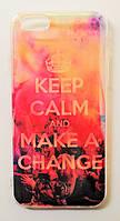 Чехол на Айфон 6/6s Силикон+пластик перламутр Keep Calm Полупрозрачный, фото 1