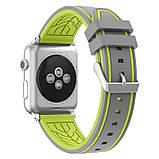 Силиконовый ремешок Primo Color Strip для Apple Watch 42mm / 44mm Grey-Yellow, фото 2