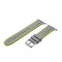 Силиконовый ремешок Primo Color Strip для Apple Watch 38mm Grey-Yellow
