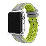 Силиконовый ремешок Primo Color Strip для Apple Watch 42mm / 44mm Grey-Yellow, фото 3