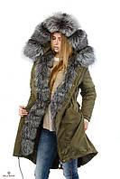 Женская парка-плащ зимняя П-19 с натуральным мехом., фото 1