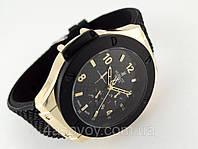 Мужские часы HUBLOT - черный ремешок, цвет корпуса gold, кварцевый механизм