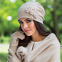 Зимняя женская шапка  Pilar Kamea, шерстяная, бежевый цвет, фото 1