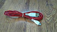 Кабель USB - MicroUSB в тканевой оплётке, 1 метр