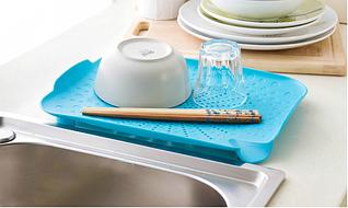 Пластиковий килимок-друшляк для раковини (блакитний)