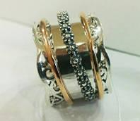 """Кольцо серебряное  с позолотой """"ПЛАЗА"""" пандора"""
