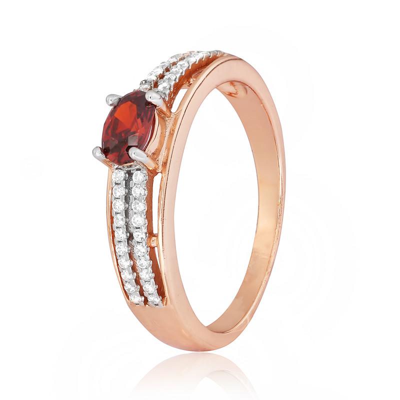 """Позолоченное кольцо с имитацией граната """"339"""""""