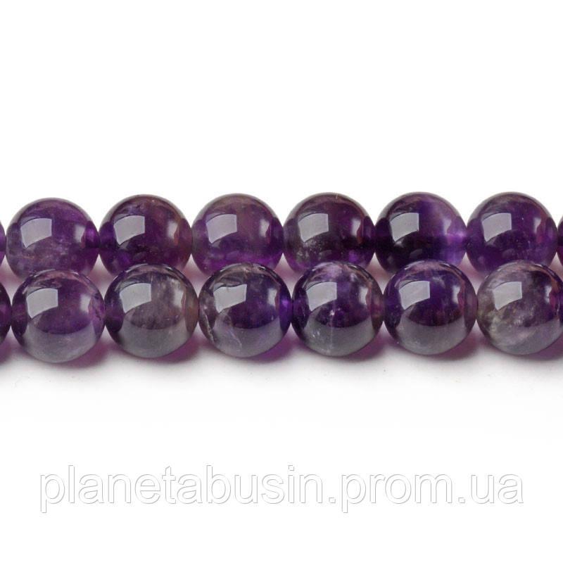 8 мм Аметист Тёмный, CN312, Натуральный камень, Форма: Шар, Отверстие: 1мм, кол-во: 47-48 шт/нить