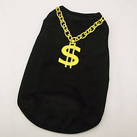 Модная одежда для собачек черная Золотой доллар