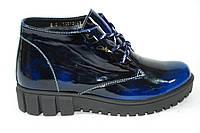 Зимние женские ботинки из натуральной лаковой кожи