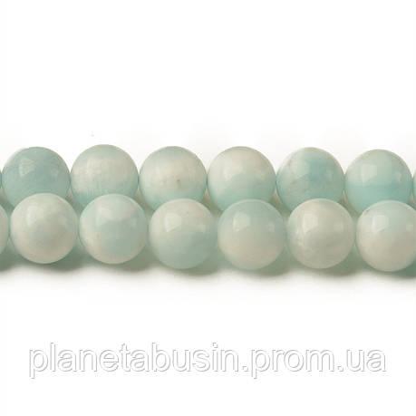 8 мм Ларимар А, CN313, Натуральный камень, Форма: Шар, Отверстие: 1мм, кол-во: 47-48 шт/нить, фото 2