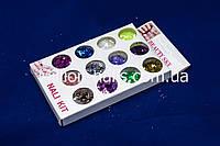 Набор пайетки-соты для дизайна ногтей, цветные 12 шт