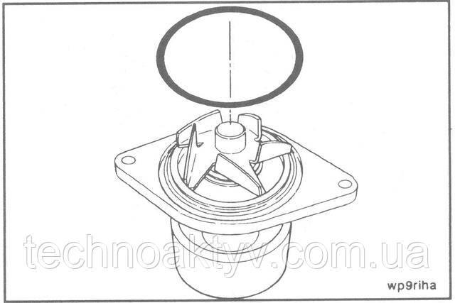 Установите новое уплотнительное кольцо в канавку водяного насоса.