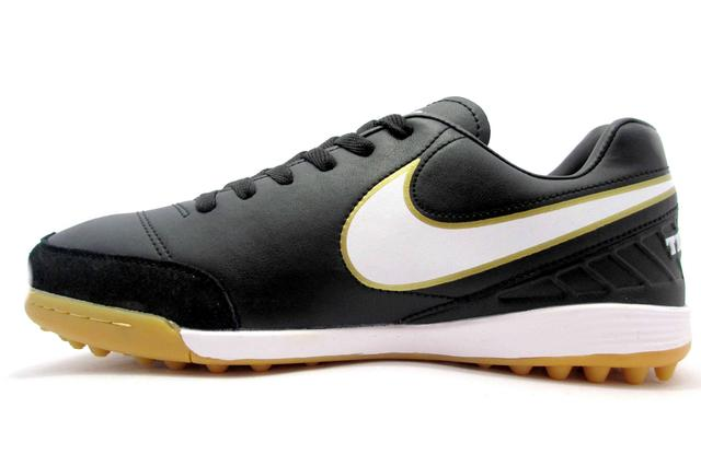 Футбольные сороконожки Nike Tiempo Mystic V TF Black/White/Metallic Gold