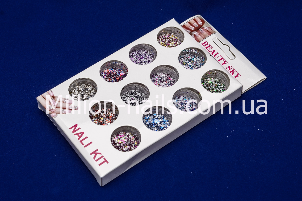 Набор пайеток для дизайна ногтей, цветные