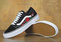 Кеды Vans Old Skool Black-White Roses 36-44 рр