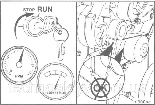 Установите крышку наливной горловины. Пустите двигатель и доведите температуру охлаждающей жидкости до 80° С [180 ° F], затем проверьте отсутствие утечек.
