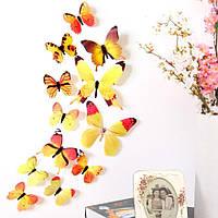 Яркие 3D бабочки на стену. Желтые.