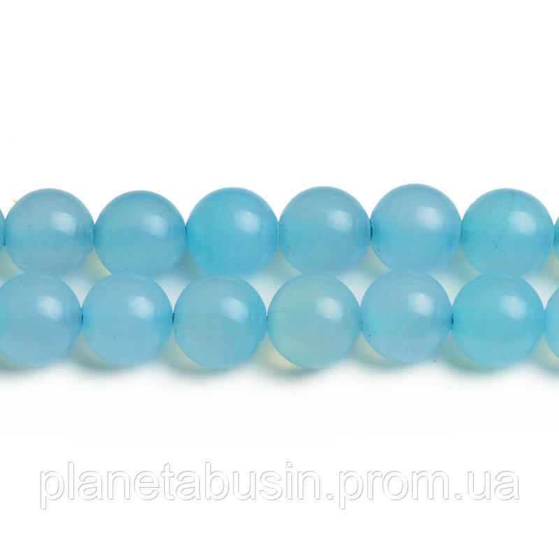 8 мм Голубой Агат, CN316, Натуральный камень, Форма: Шар, Отверстие: 1мм, кол-во: 47-48 шт/нить
