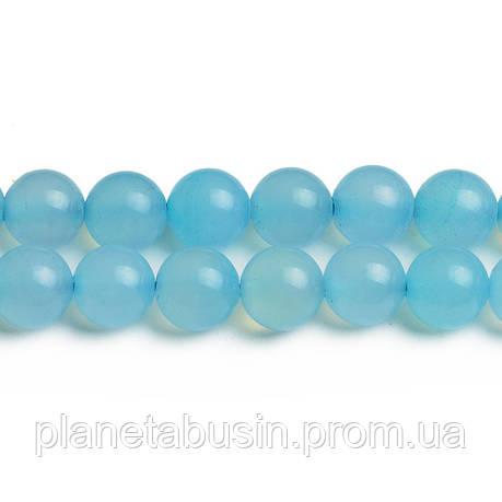 8 мм Голубой Агат, CN316, Натуральный камень, Форма: Шар, Отверстие: 1мм, кол-во: 47-48 шт/нить, фото 2