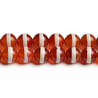Красный Дизайнерский Агат, Натуральный камень, На нитях, 8 мм, Круглые, Отверстие 1 мм, кол-во: 48 шт/нить