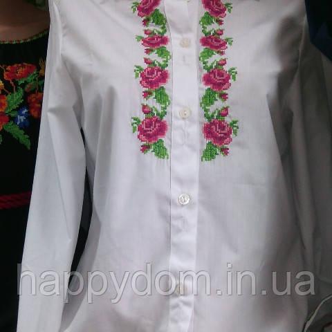 Вышиванка рубашка подросток девочка белая с розами