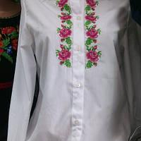 Вышиванка рубашка подросток девочка белая с разами