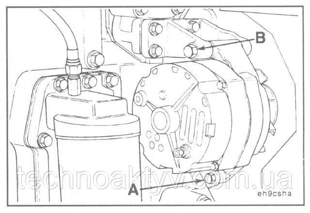 Ключ 14 мм, 16 мм Установите на место генератор и крепежные болты.  Крутящий момент затяжки:  (A) 24 Н • м [18 ft-lb]  (B) 43 Н • м [32 ft-lb]