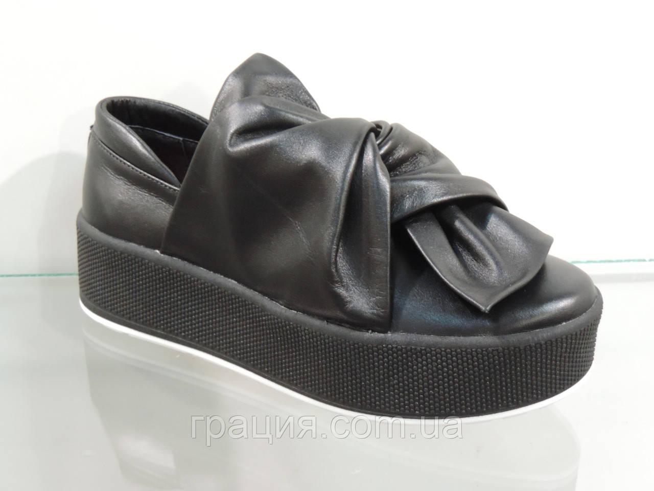Модные молодежные туфли на платформе натуральная кожа