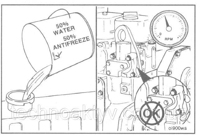 Заполните систему охлаждения. Включите двигатель и проверьте наличие утечек охлаждающей жидкости.  Внимание! Во время заполнения необходимо обеспечить выпуск воздуха из двигателя и водяного охладителя наддувочного воздуха во избежание образования воздушных пробок в системе охлаждения, в противном случае двигатель будет перегреваться.