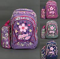 Рюкзак школьный, Fashion style, ткань- ЛЁН, 4 вида, 3 отделения, 2 кармана, пенал, спинка ортопедическая