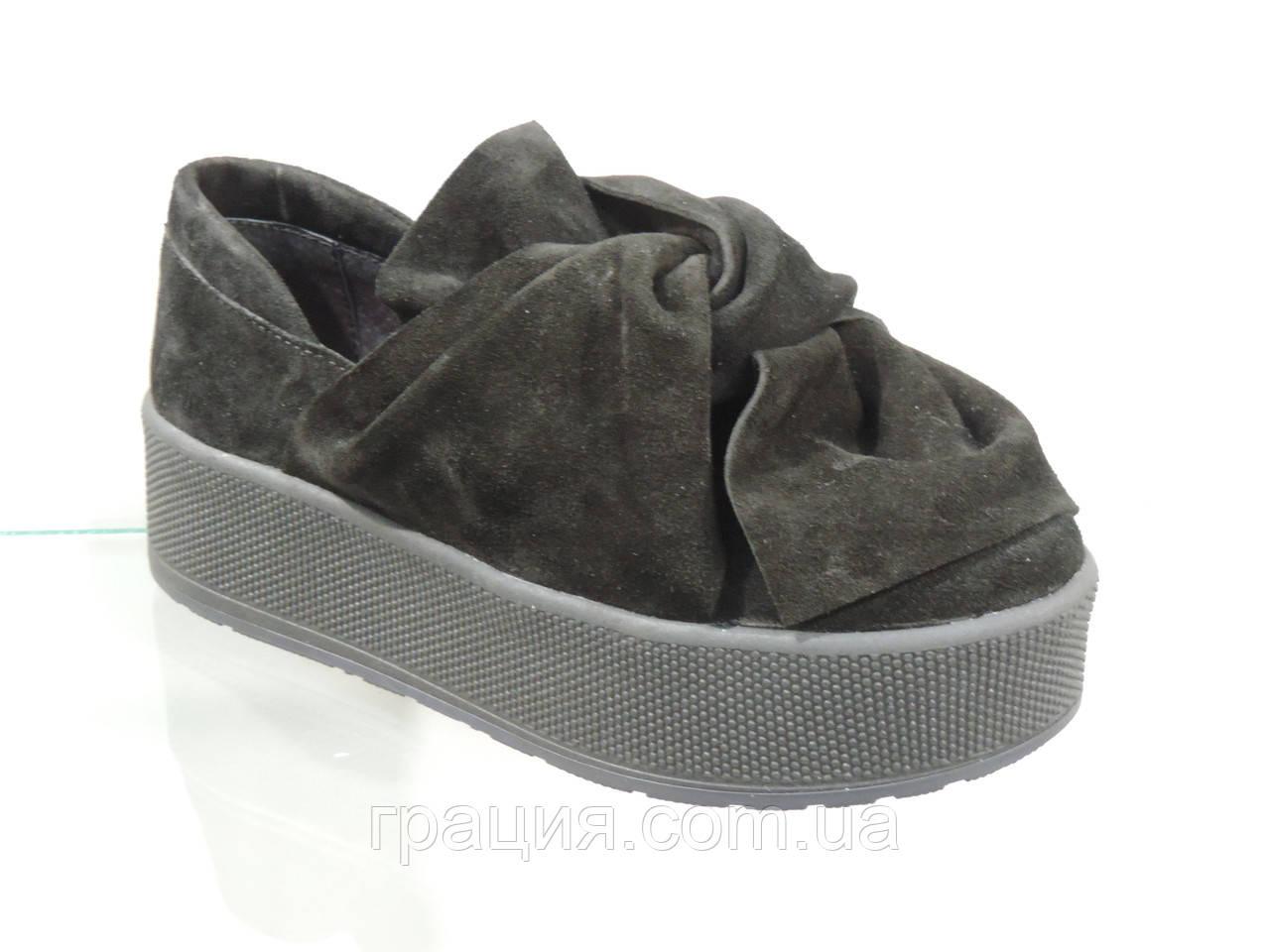 Модные молодежные туфли натуральная замша на платформе
