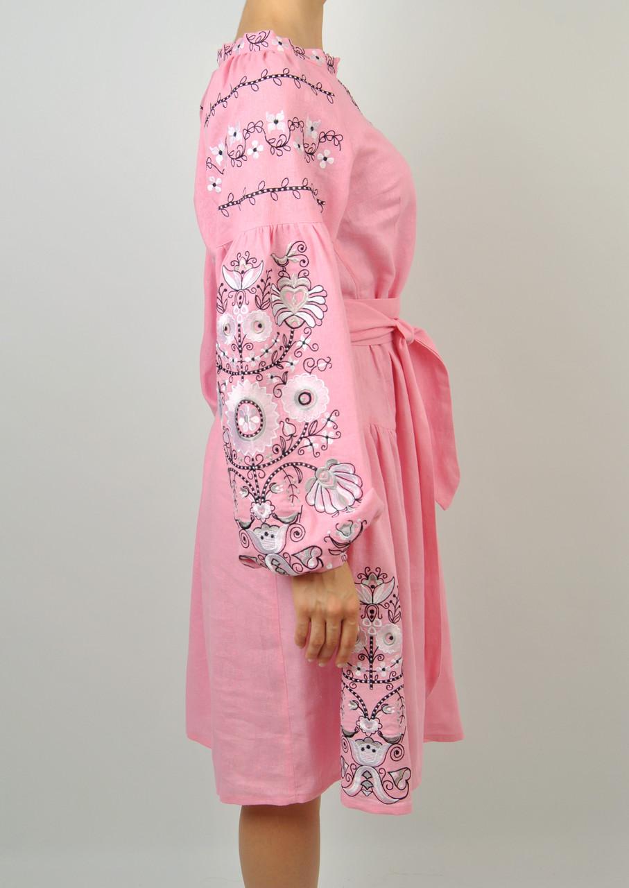 Вишите лляне рожеве плаття з машинною вишивкою  продажа 27e546b794e41