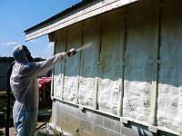 Утепление наружной стены здания с помощью напыления ППУ(пенополиуретана)