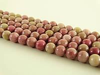 Родонит А качество, Натуральный камень, На нитях, 8 мм, Шар, Отверстие 1 мм, кол-во: 47-48 шт/нить