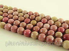 8 мм Родонит А, CN318, Натуральный камень, Форма: Шар, Отверстие: 1мм, кол-во: 47-48 шт/нить, фото 2