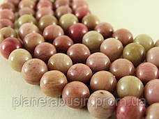 8 мм Родонит А, CN318, Натуральный камень, Форма: Шар, Отверстие: 1мм, кол-во: 47-48 шт/нить, фото 3