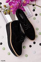 Женские туфли лоферы черные на танкетке эко замша