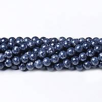 Речной камень темно-серый, Натуральный камень, На нитях, бусины 8 мм, Шар, кол-во: 47-48 шт/нить