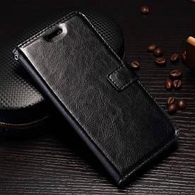 Чехол книжка для OnePlus 5 A5000 боковой с отсеком для визиток, Гладкая кожа, Черный