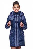 Подростковая курточка с капюшоном Амиде синий+джинс