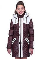 Подростковая курточка с капюшоном Амиде шоколад+молоко -1