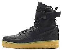 Женские высокие кроссовки Nike Air Force SF1 Black (найк аир форс) черные