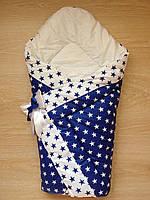 Осенний конверт одеяло для новорожденных на выписку весна/осень  90х90см Синий звезды